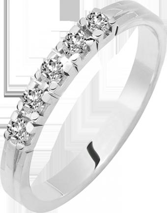 Vijf briljant geslepen diamanten gezet in deze prachtige alliance verlovingsring