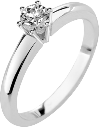 Deze verlovingsring kenmerkt zich doordat deze smaller wordt nabij de V vormige 6 poots chaton.